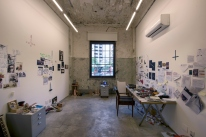 Artist studio in the 13th+14th Artist Residency Exhibition at Red Bull Station in Sao Paulo on November 11, 2017.